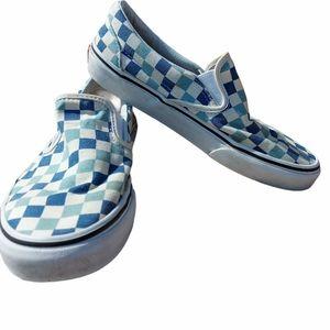 Vans blue and white check slip on unisex